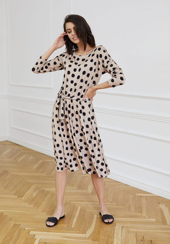 Sukienka w kropki beżowo-czarna