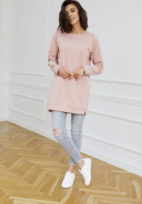 bluza długa Ana różowa flawless