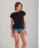 bluzka Noemi czarna z dekoltem V - zdjęcie 2
