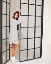 długa bluza z kapturem Selena szara- zdjęcie 5