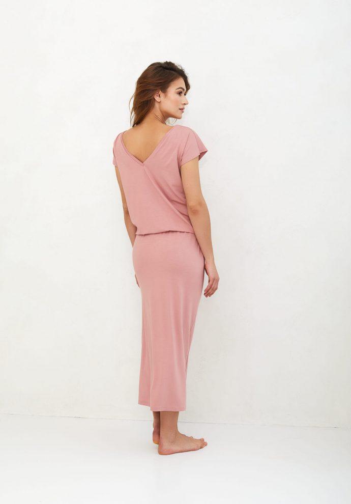 sukienka Patrizia długa zgaszony róż- zdjęcie 3