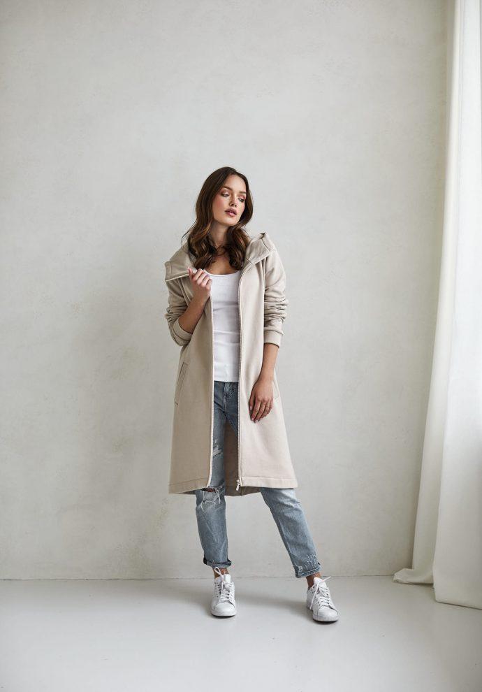 bluzo -płaszcz Carla piaskowa - zdjęcie 2