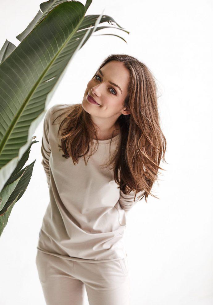 bluzka z długim rękawem emma piaskowa- zdjęcie 3