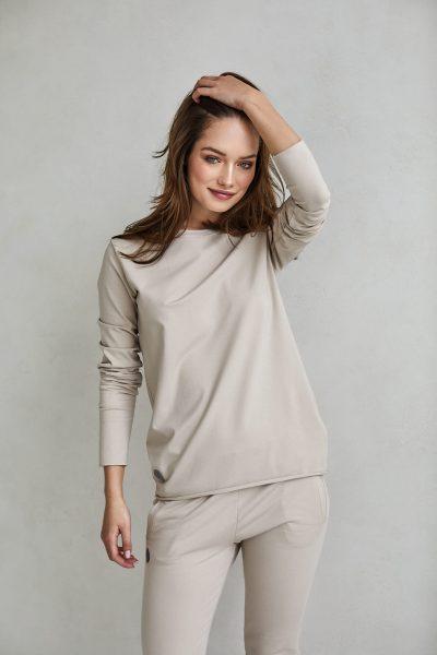 bluzka z długim rękawem emma piaskowa