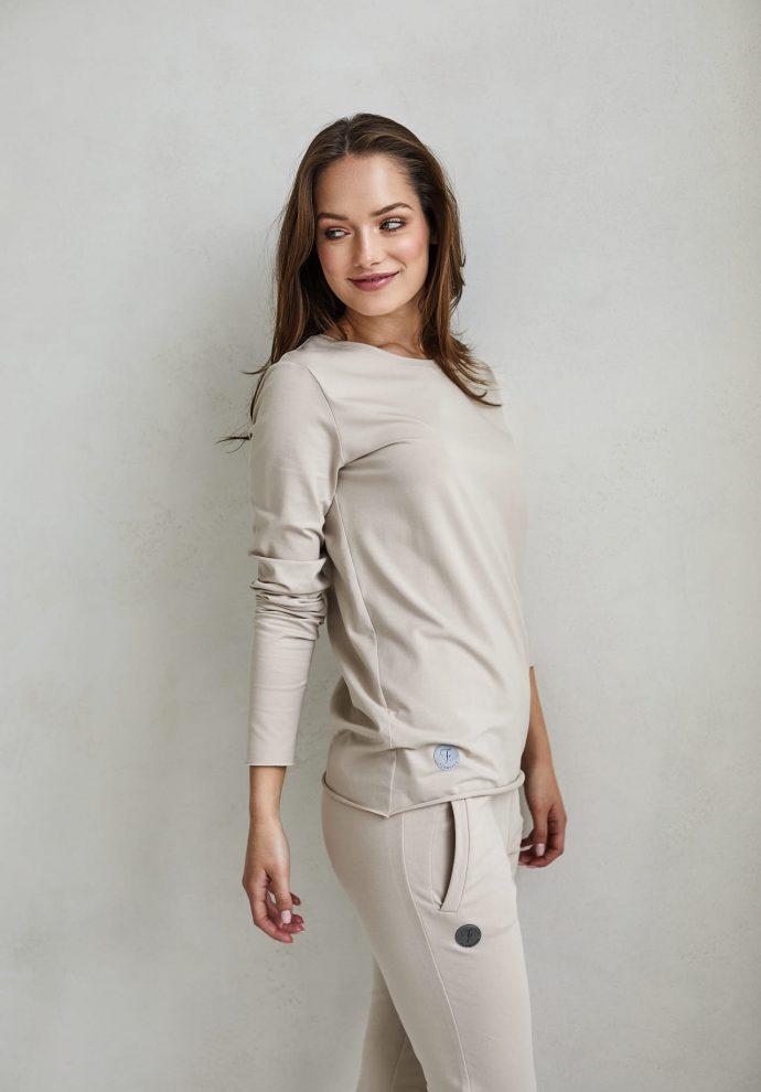 bluzka z długim rękawem emma piaskowa- zdjęcie 2