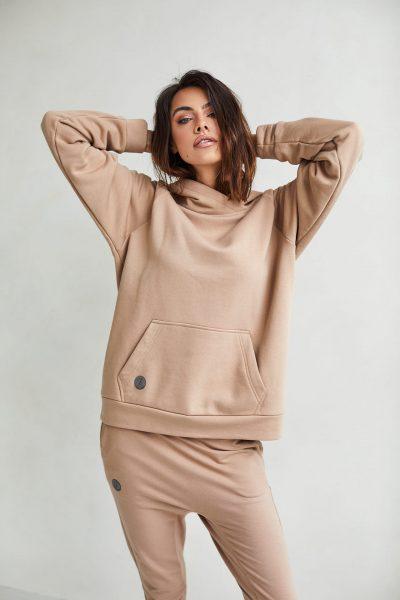 bluza z kapturem Rita kamelowa