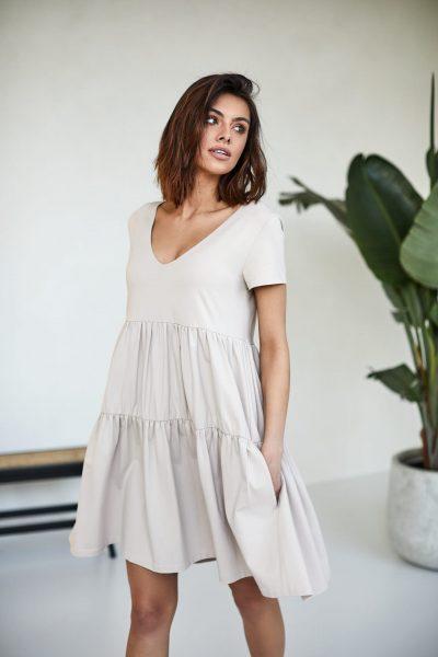 sukienki Karen piaskowa- zdjęcie 2