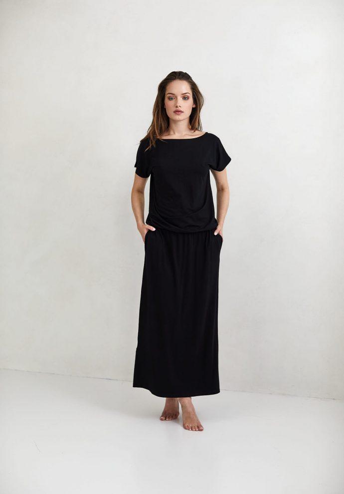 Sukienka Patrizia długa czarna - zdjęcie 2