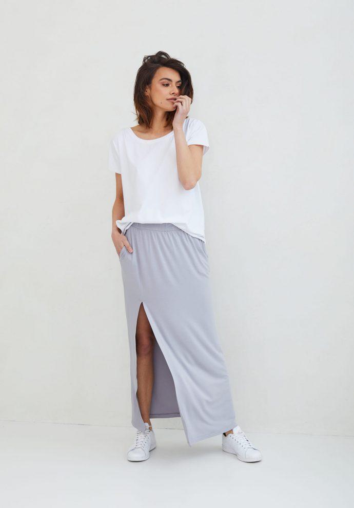 długa szara spódnica Judi- zdjęcie 4