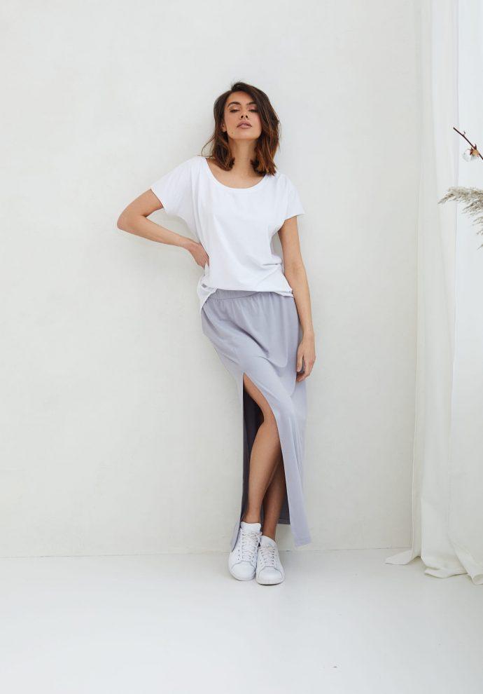 długa szara spódnica Judi- zdjęcie 2