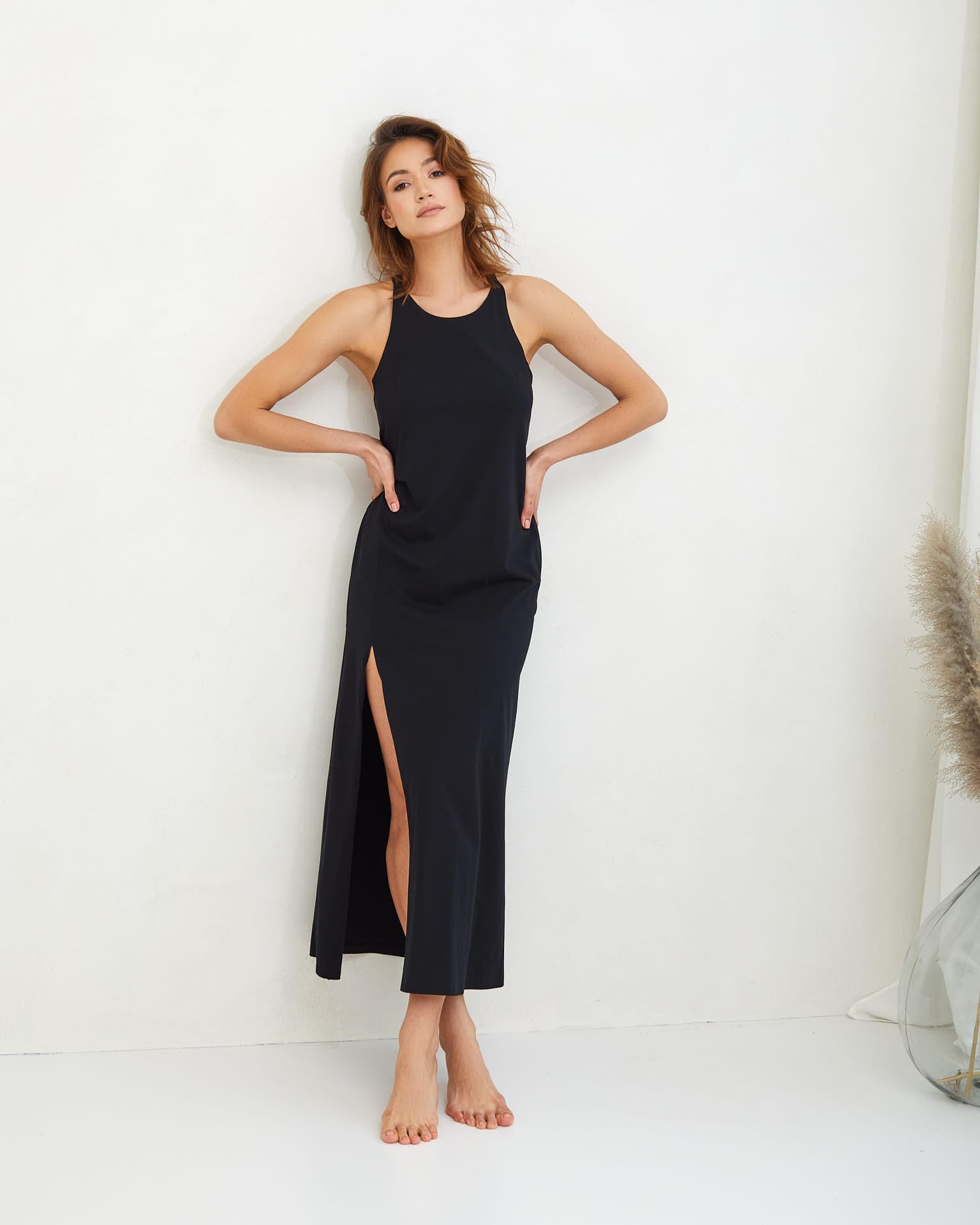 letnia długa czarna sukienka Livia