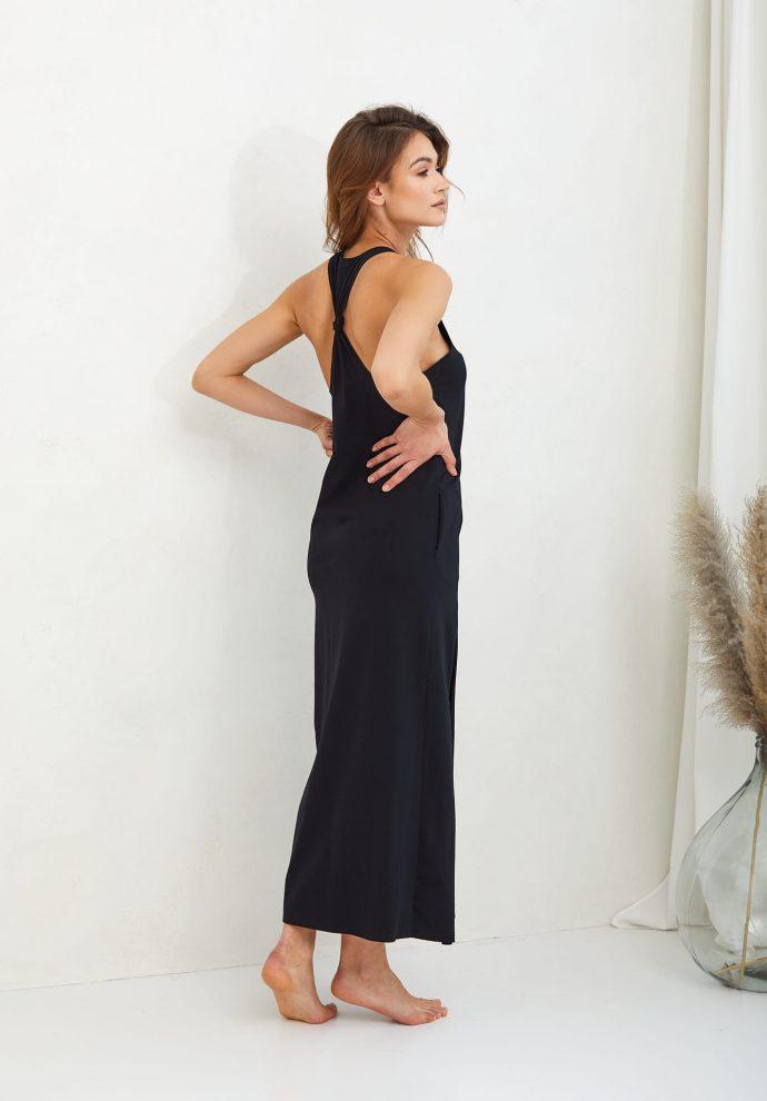 letnia długa czarna sukienka Livia- zdjęcie 2