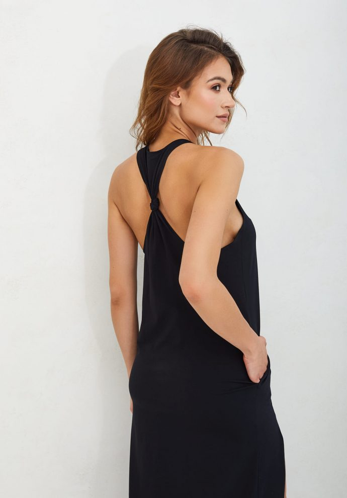 letnia długa czarna sukienka Livia- zdjęcie 3