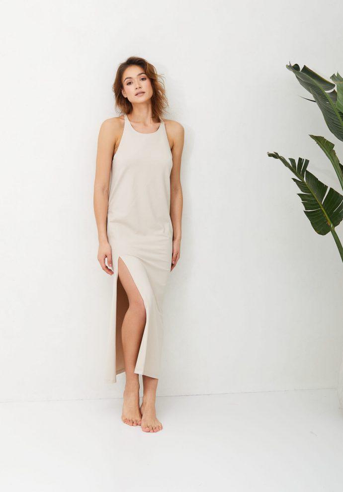 Sukienka długa Livia piaskowa