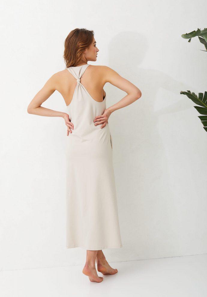 Sukienka długa Livia piaskowa- zdjęcie 2