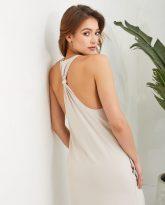 Sukienka długa Livia piaskowa- zdjęcie 3