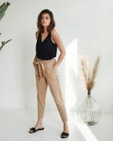 spodnie z wysokim stanem Nora kamelowe-zdjecie 2