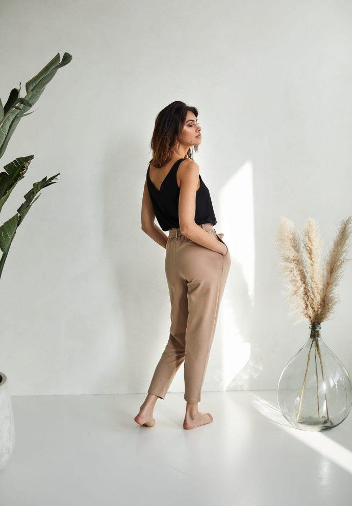 spodnie z wysokim stanem Nora kamelowe-zdjecie 3