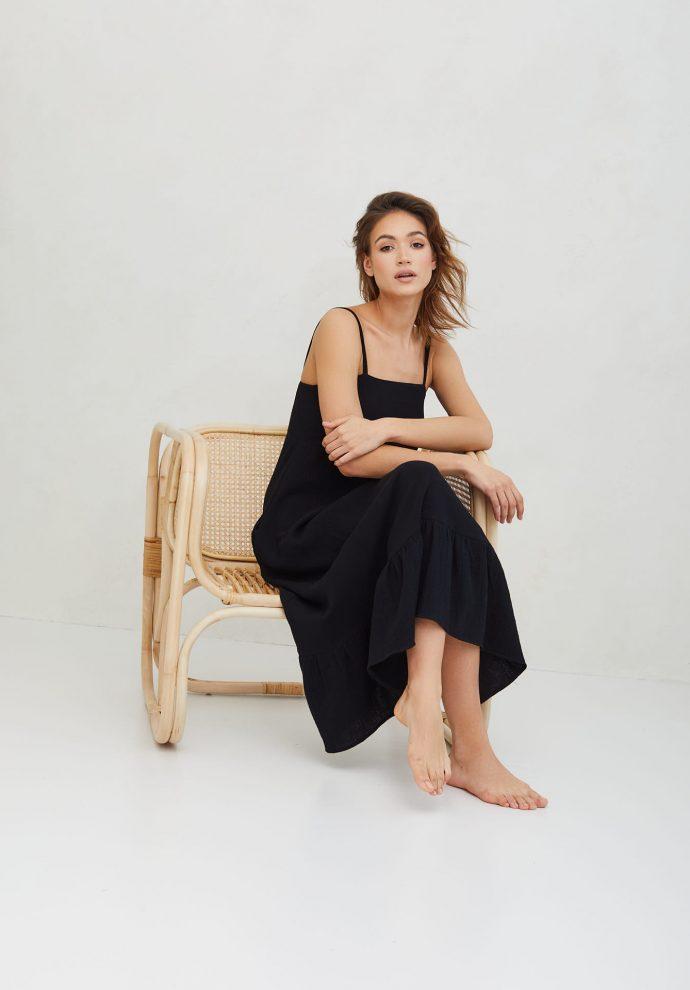 sukienka z muślinu na ramiączkach czarna LOU- zdjęcie 5