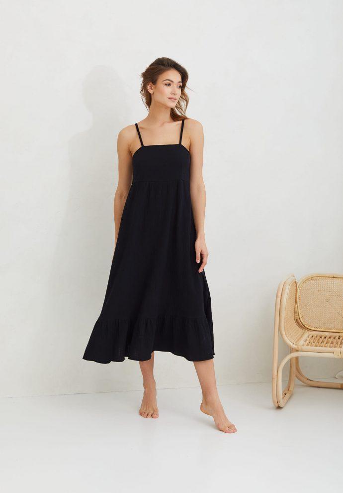 sukienka z muślinu na ramiączkach czarna LOU- zdjęcie 2