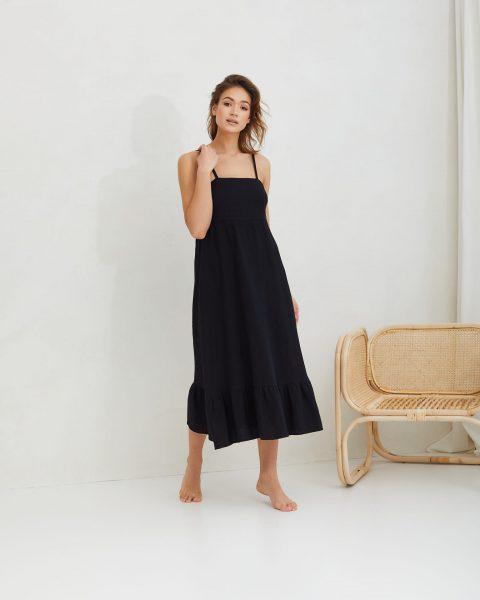 sukienka z muślinu na ramiączkach czarna LOU