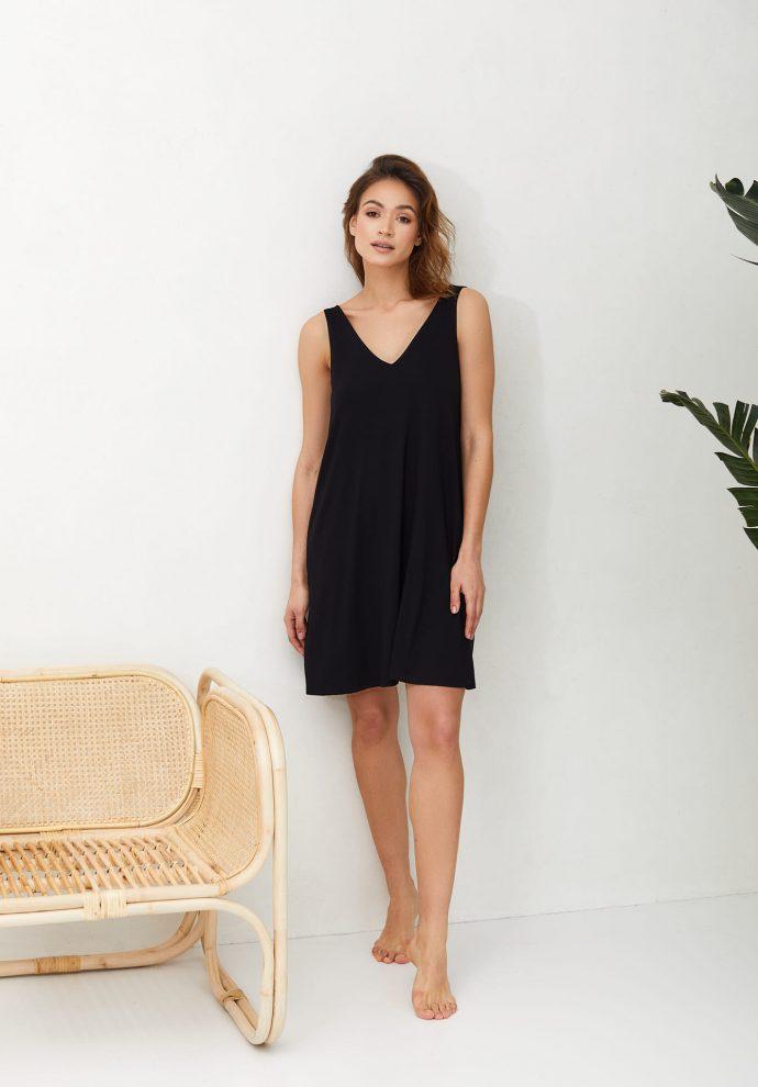 sukienka z wiskozy Lea czarna- zdjęcie 2