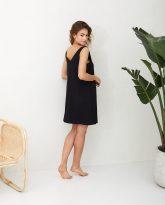 sukienka z wiskozy Lea czarna- zdjęcie 3