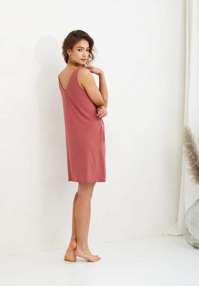 sukienka z wiskozy Lea koralowa- zdjęcie 3