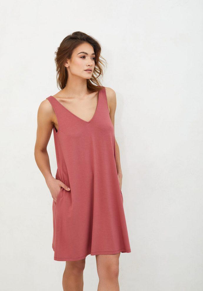 sukienka z wiskozy Lea koralowa- zdjęcie 2