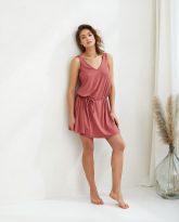sukienka z wiskozy Lea koralowa