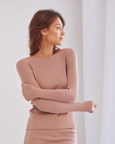 bluzka Salma ze ściągacza kamelowa