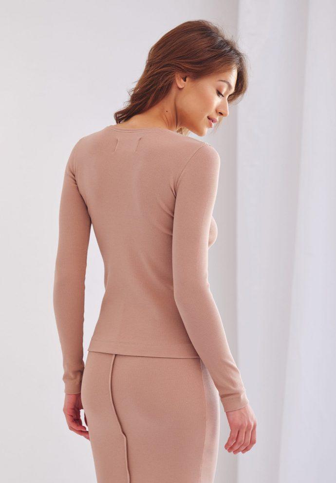 bluzka Salma ze ściągacza kamelowa- zdjęcie 2