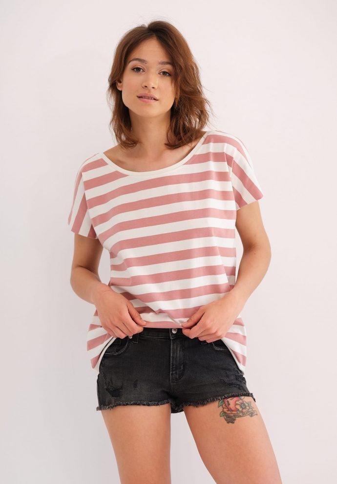 koszulka z krótkim rękawem Alice w pasy ecru różowe