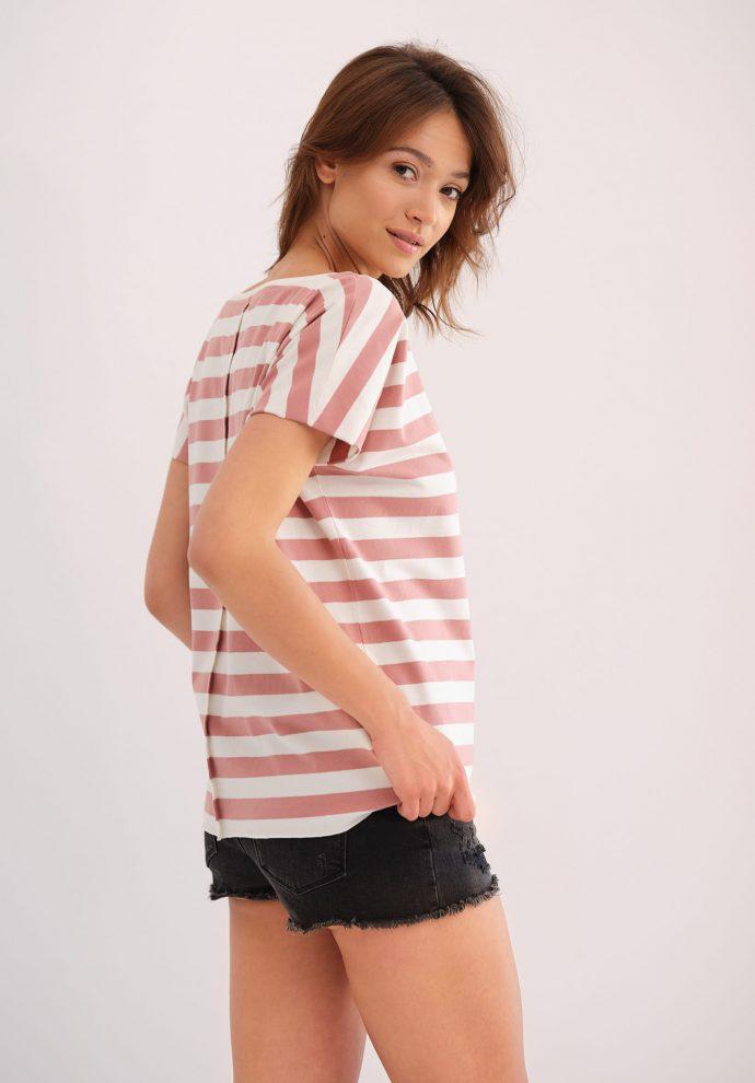 koszulka z krótkim rękawem Alice w pasy ecru różowe- zdjęcie 2