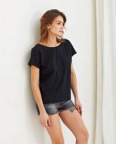 T-shirt czarny z dekoltem na plecach Molly- zdjęcie 2