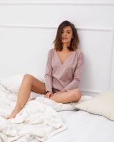 bluzka do spania z dekoltem serek Leda lila