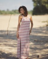 długa sukienka w pasy ecru różowe Livia- zdjęcie 3