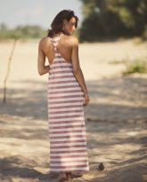 długa sukienka w pasy ecru różowe Livia- zdjęcie 4