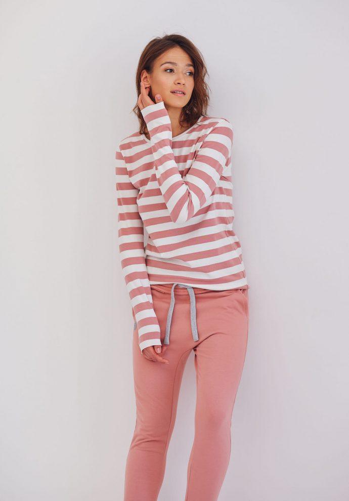 dopasowana bluzka z długim rękawem Emma w pasy ecru różowe