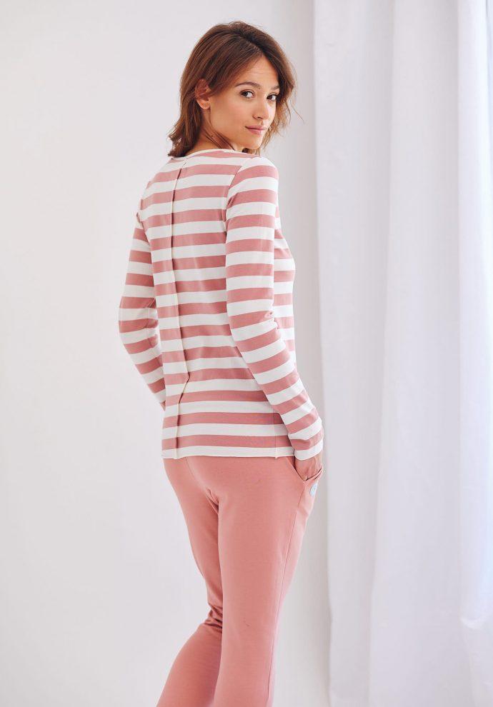dopasowana bluzka z długim rękawem Emma w pasy ecru różowe- zdjęcie 2