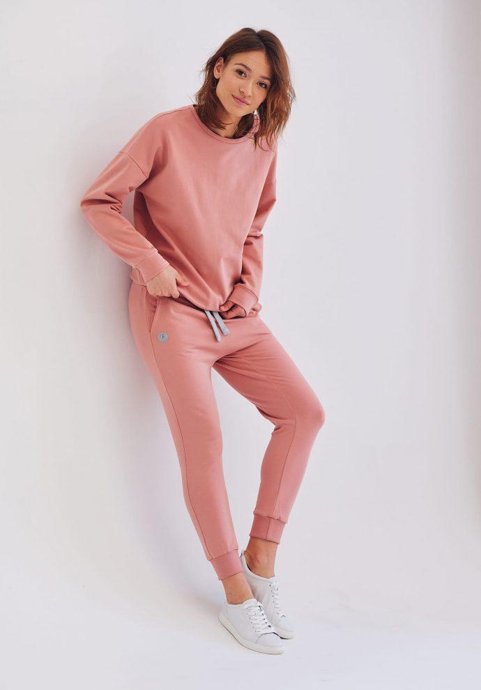 spodnie Baggy z lekko opuszczonym krokiem różowe- zdjęcie 3