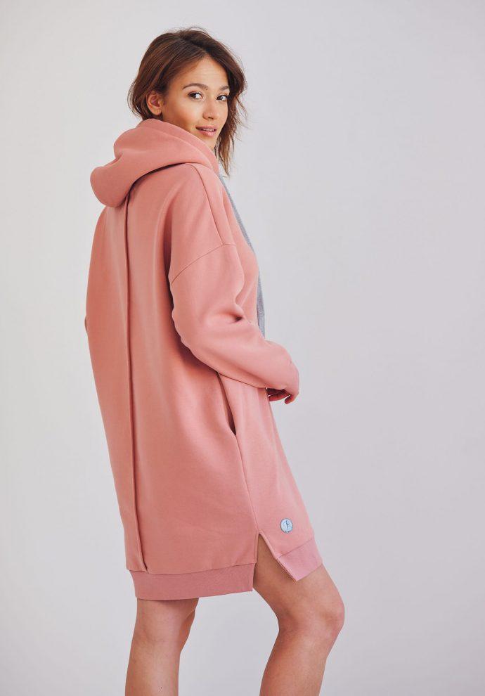 długa oversizowa bluza z kapturem Selena różowa- zdjęcie 2