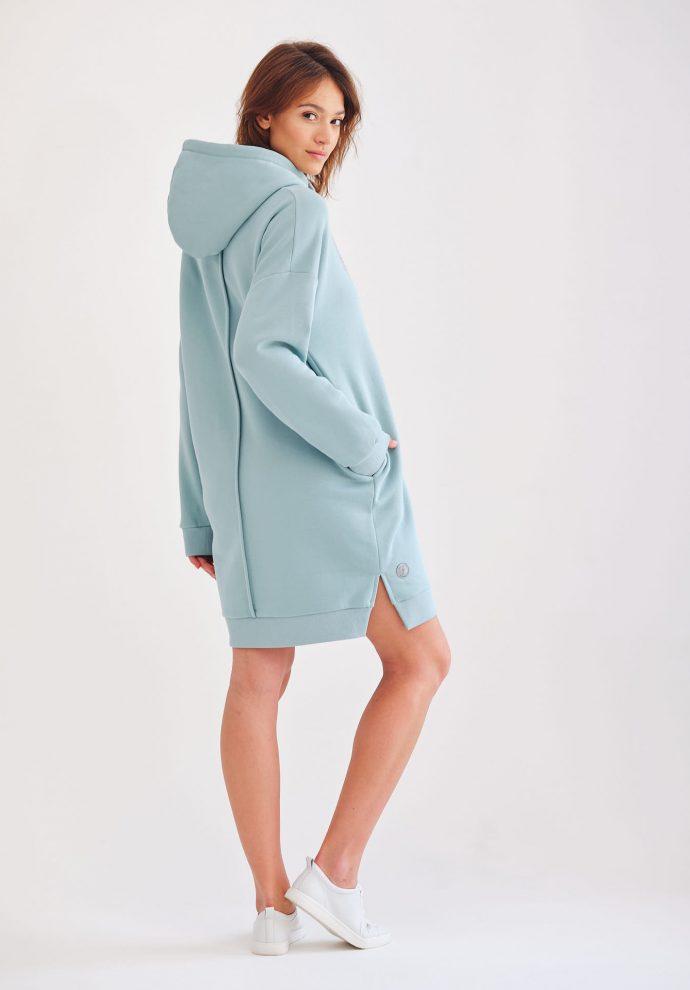 Długa oversizowa bluza z kapturem Selena mietowa- zdjęcie 2
