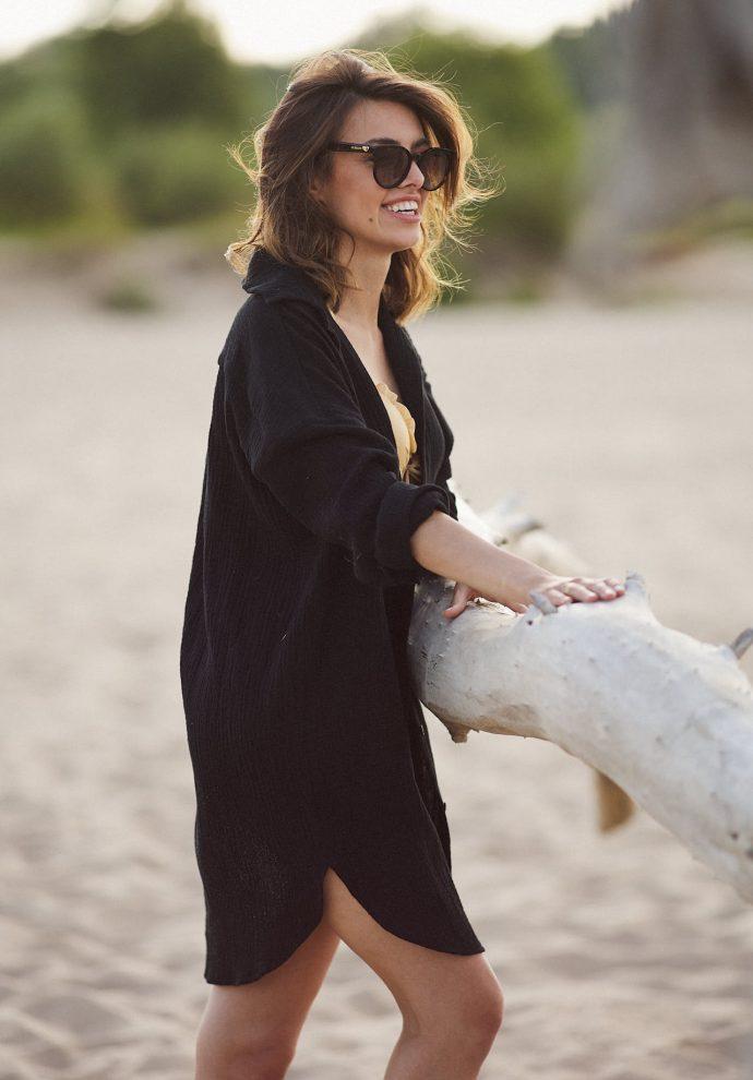 Koszula muślinowa Juliette czarna- zdjęcie 2