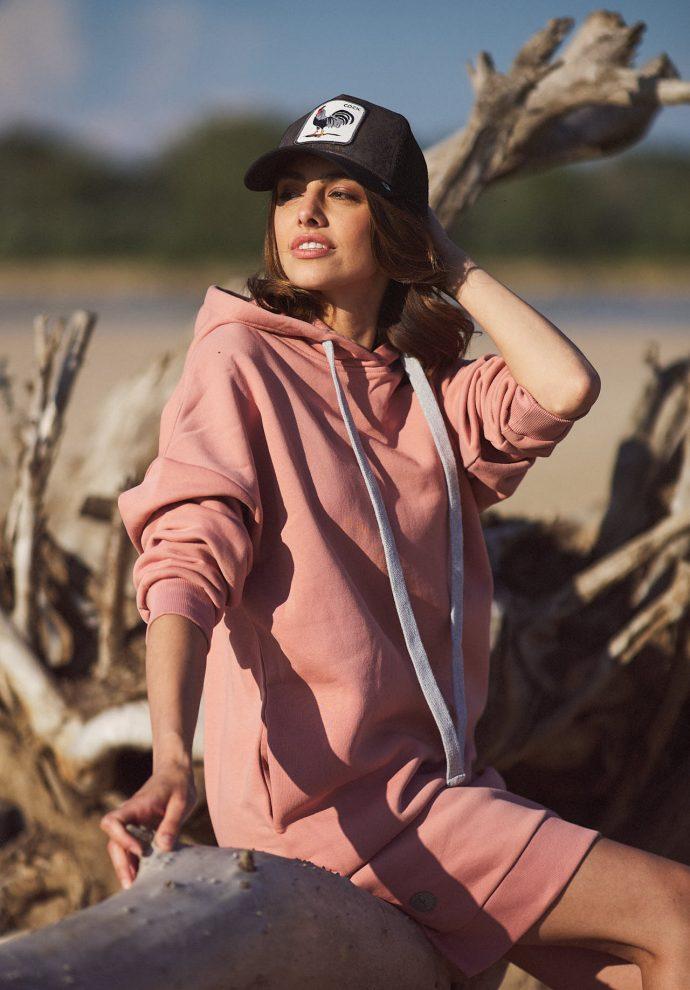długa bluza Selena zgaszony róż- zdjęcie 4