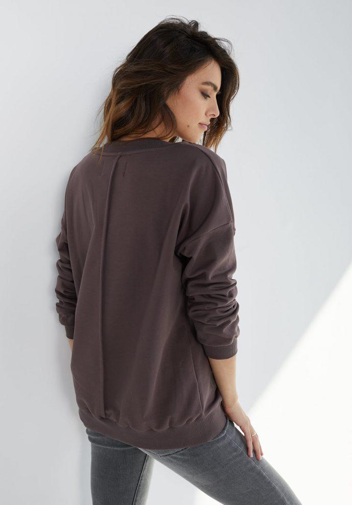 Bluza z dekoltem w serek Nelly czekoladowa- zdjęcie 2