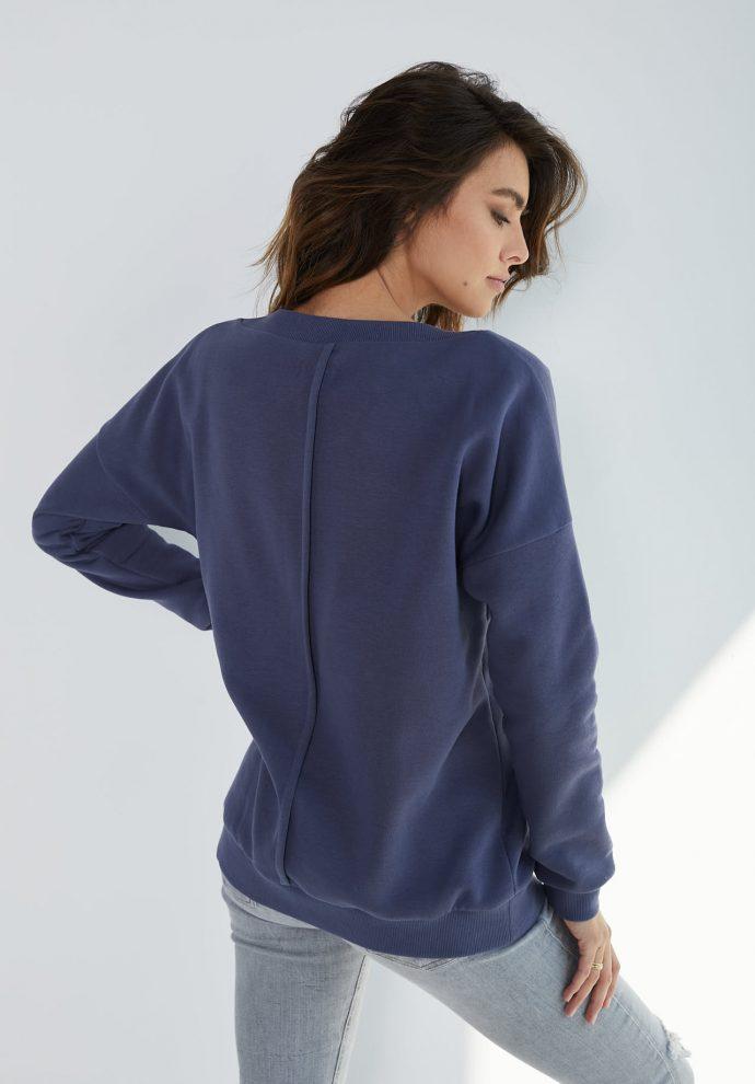 Bluza z dekoltem w serek Nelly niebieska- zdjęcie 2