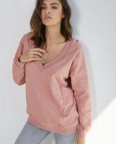 Bluza z dekoltem w serek Nelly różowa