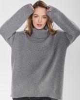 sweter z golfem f z wełny merynosa i kaszmiru Adele szary- zdjęcie 3