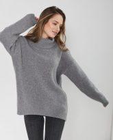 sweter z golfem f z wełny merynosa i kaszmiru Adele szary- zdjęcie 2